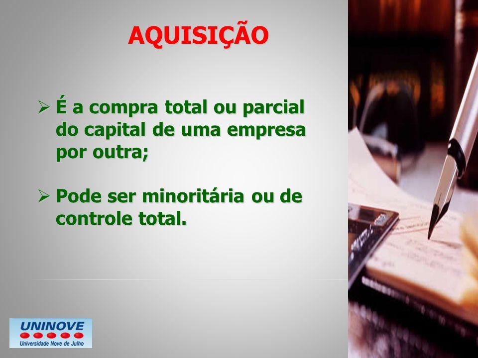 AQUISIÇÃOÉ a compra total ou parcial do capital de uma empresa por outra; Pode ser minoritária ou de controle total.