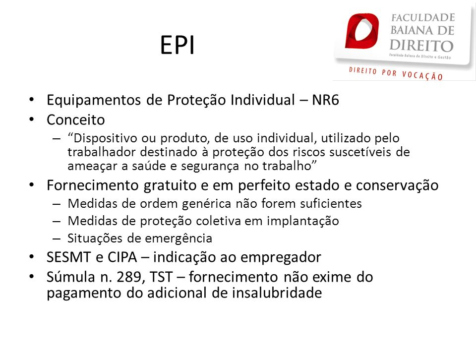 EPI Equipamentos de Proteção Individual – NR6 Conceito