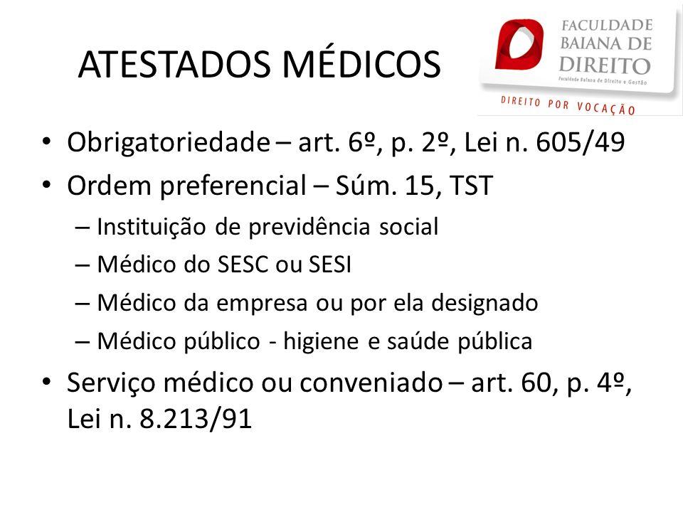 ATESTADOS MÉDICOS Obrigatoriedade – art. 6º, p. 2º, Lei n. 605/49