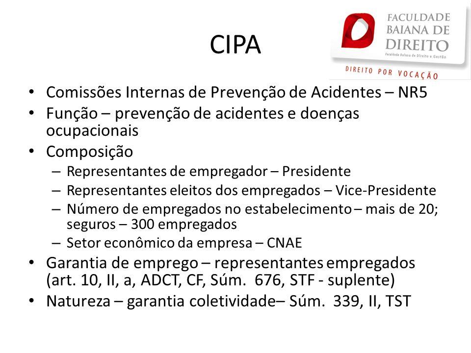 CIPA Comissões Internas de Prevenção de Acidentes – NR5