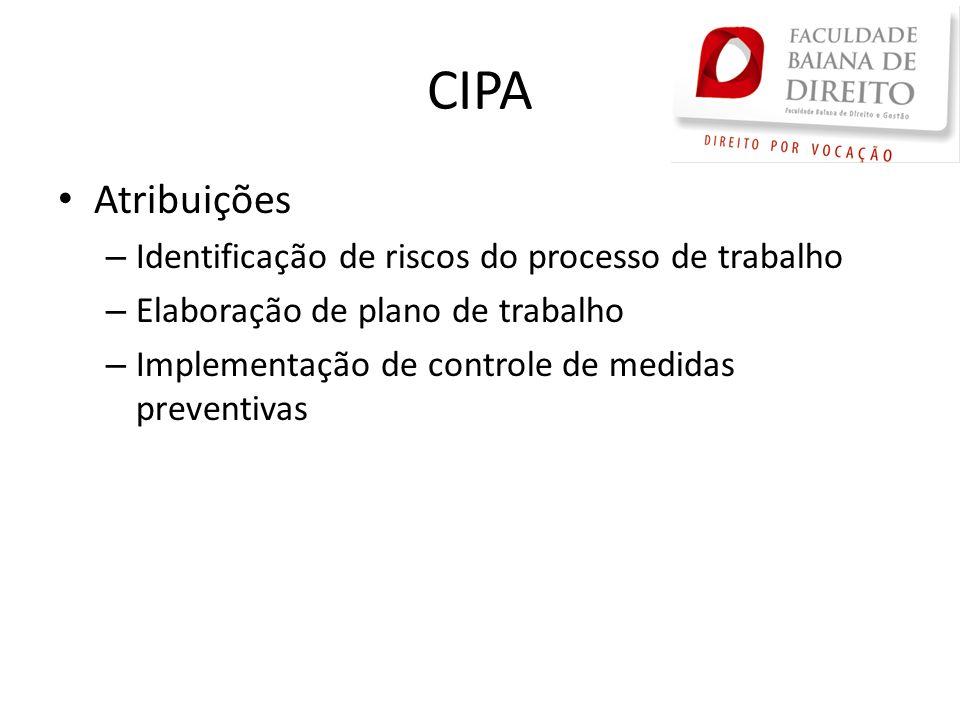 CIPA Atribuições Identificação de riscos do processo de trabalho
