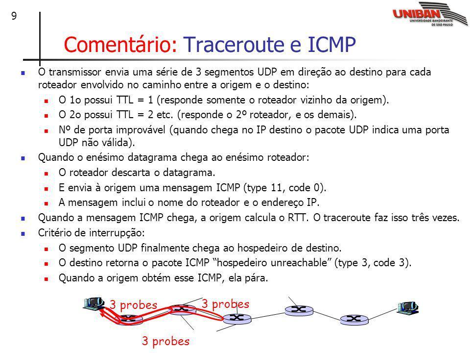 Comentário: Traceroute e ICMP