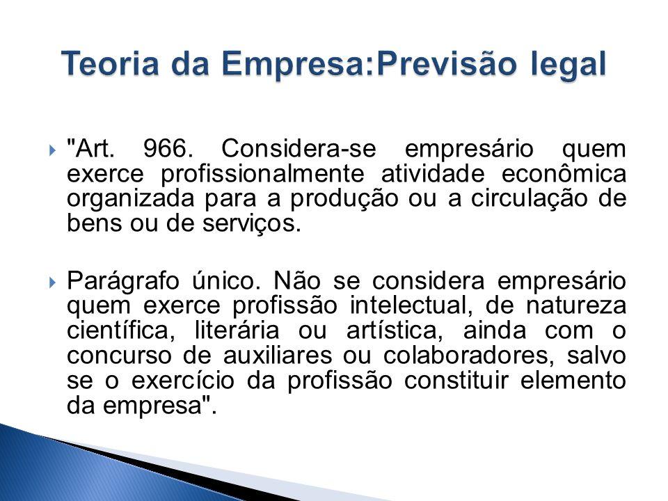 Teoria da Empresa:Previsão legal