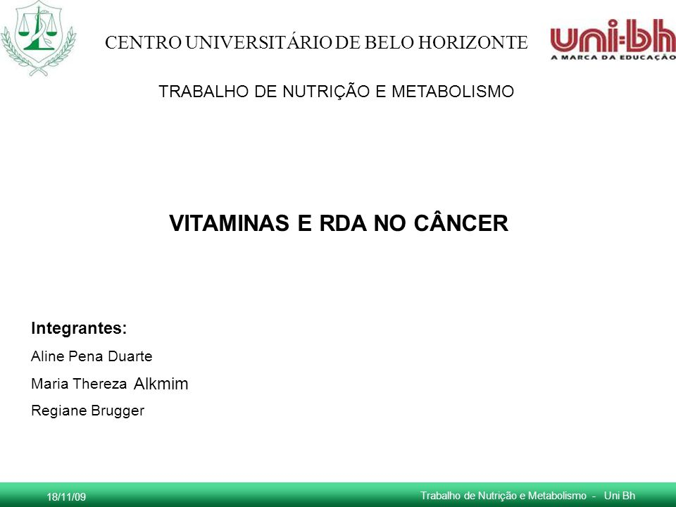 VITAMINAS E RDA NO CÂNCER