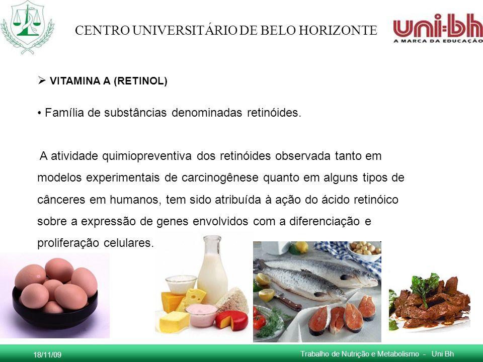VITAMINA A (RETINOL) Família de substâncias denominadas retinóides.