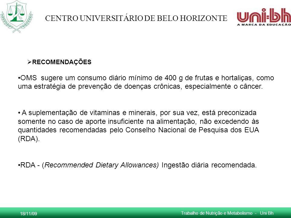 RDA - (Recommended Dietary Allowances) Ingestão diária recomendada.