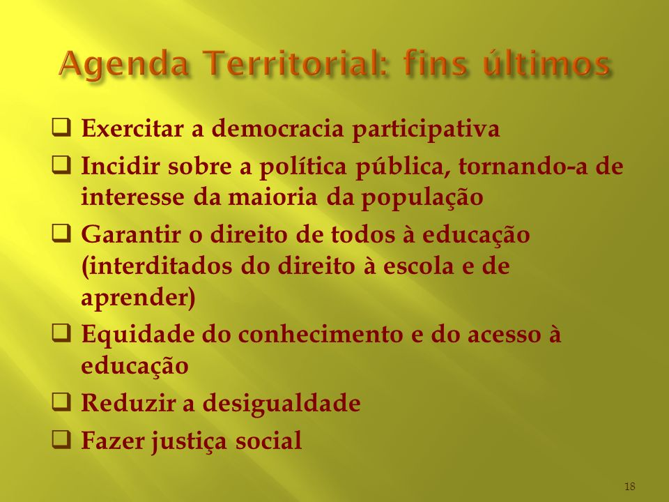 Agenda Territorial: fins últimos