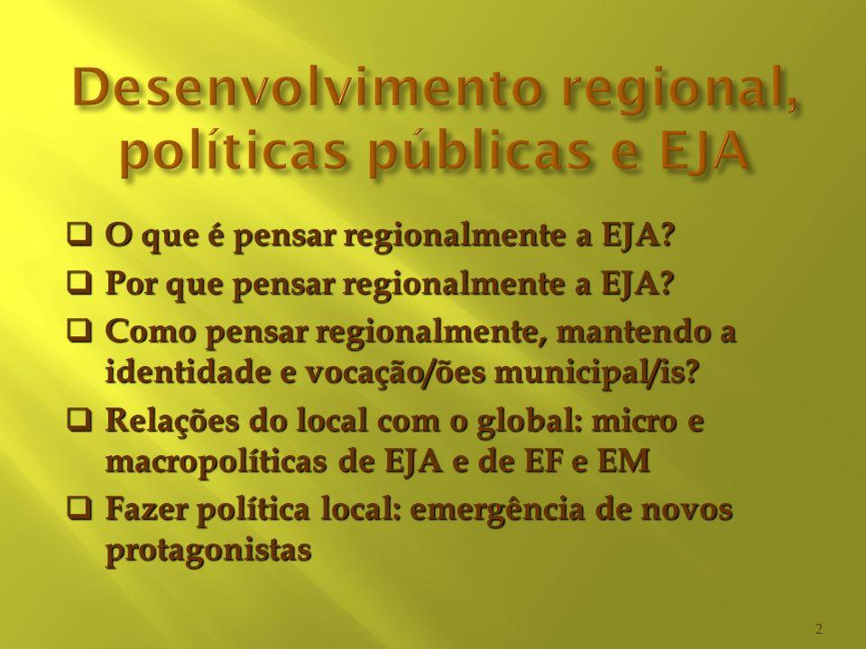 Desenvolvimento regional, políticas públicas e EJA