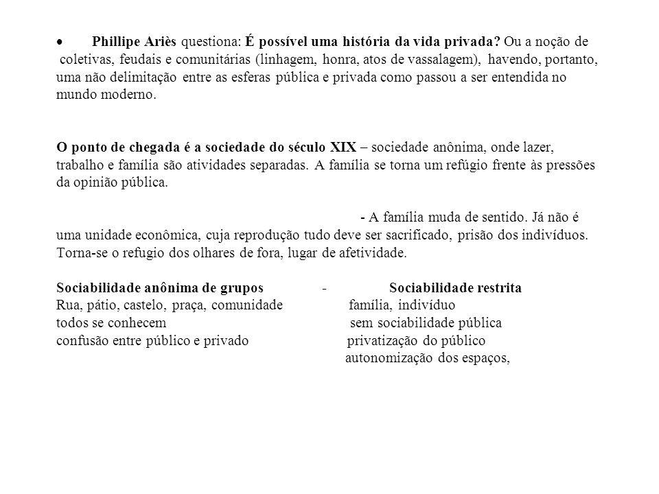 · Phillipe Ariès questiona: É possível uma história da vida privada