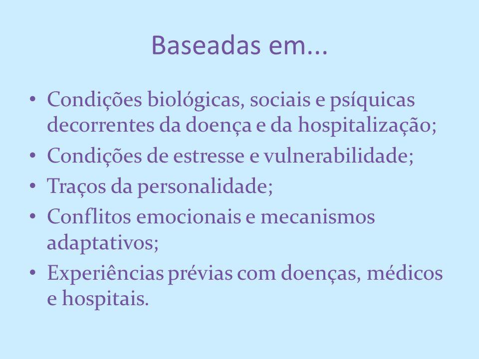 Baseadas em...Condições biológicas, sociais e psíquicas decorrentes da doença e da hospitalização; Condições de estresse e vulnerabilidade;