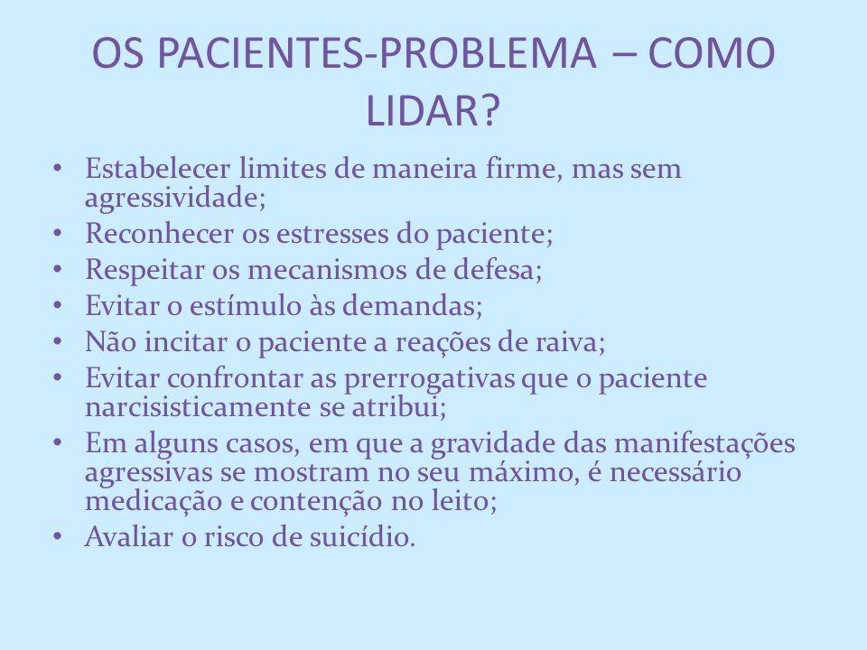 OS PACIENTES-PROBLEMA – COMO LIDAR