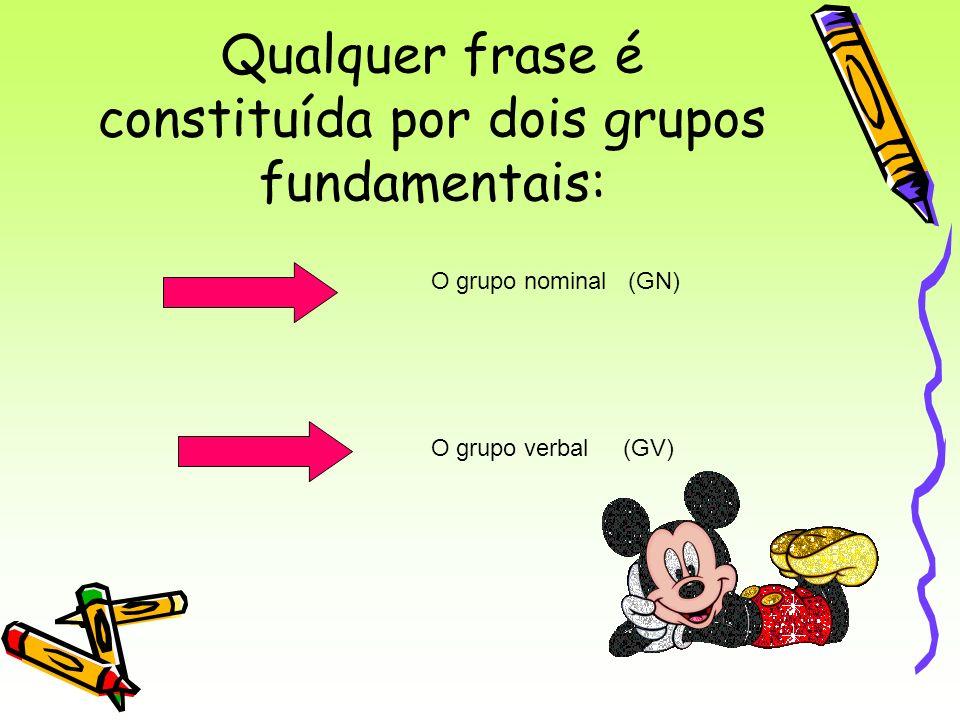 Qualquer frase é constituída por dois grupos fundamentais: