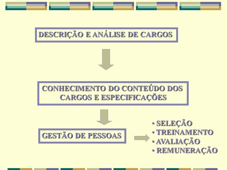 CONHECIMENTO DO CONTEÚDO DOS CARGOS E ESPECIFICAÇÕES