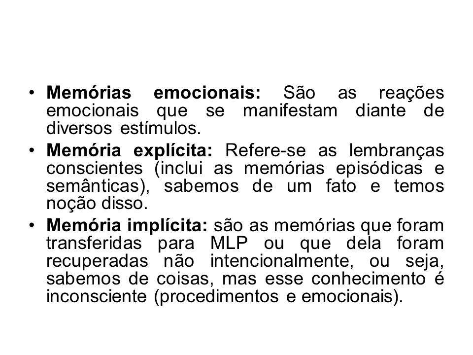 Memórias emocionais: São as reações emocionais que se manifestam diante de diversos estímulos.