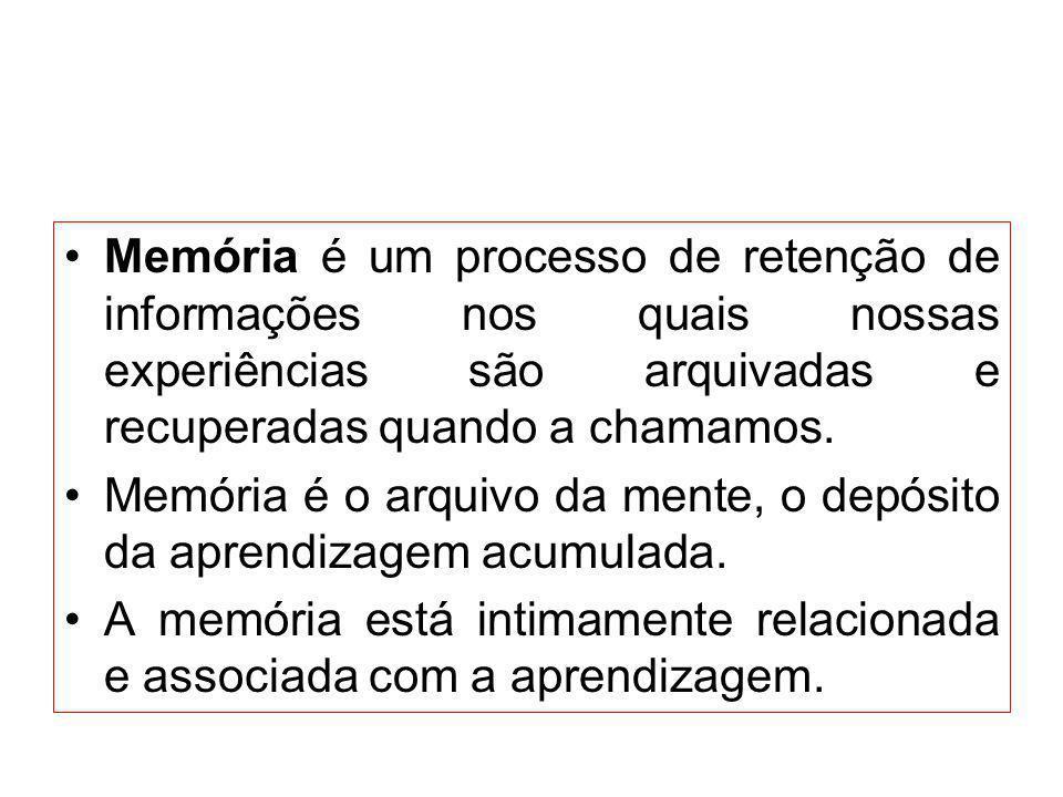 Memória é um processo de retenção de informações nos quais nossas experiências são arquivadas e recuperadas quando a chamamos.