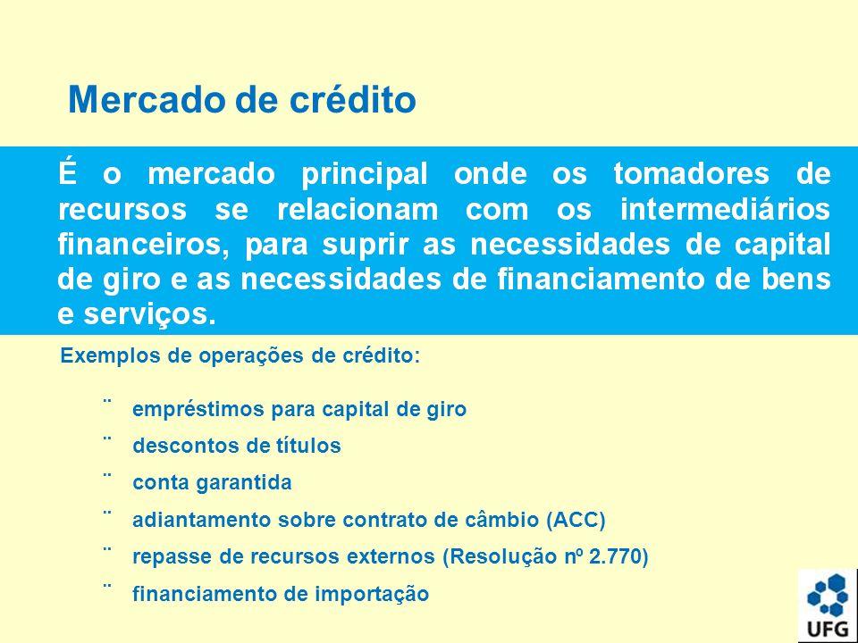 Mercado de crédito Exemplos de o p erações de crédito : ¨ emprés