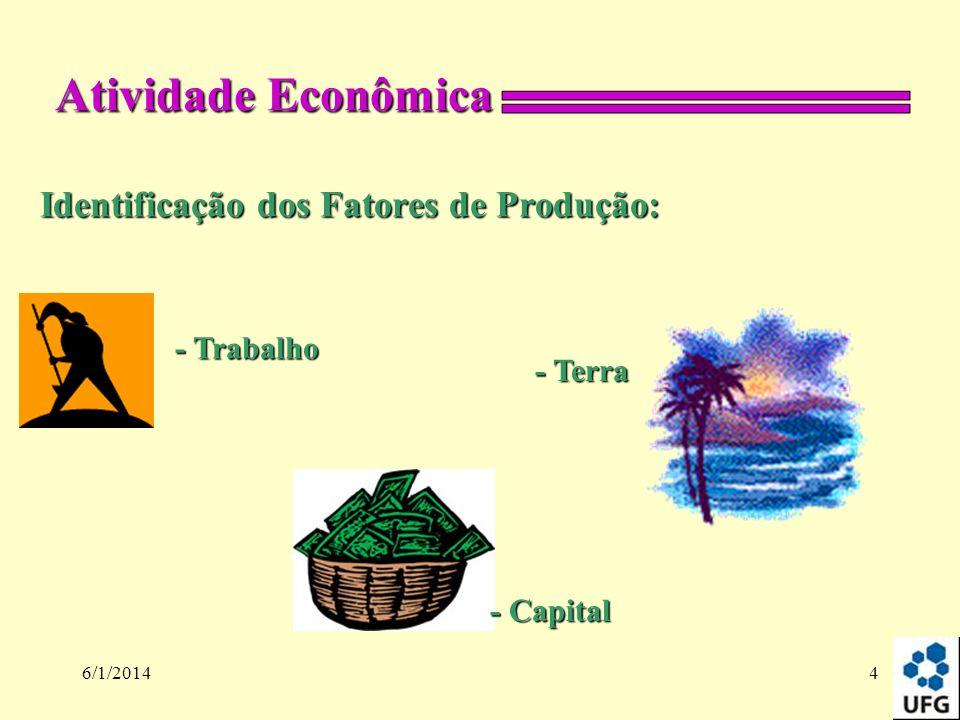 Atividade Econômica Identificação dos Fatores de Produção: - Trabalho