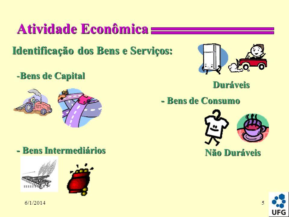 Atividade Econômica Identificação dos Bens e Serviços: Bens de Capital