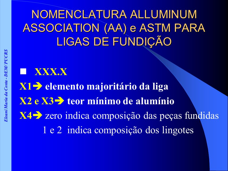 NOMENCLATURA ALLUMINUM ASSOCIATION (AA) e ASTM PARA LIGAS DE FUNDIÇÃO