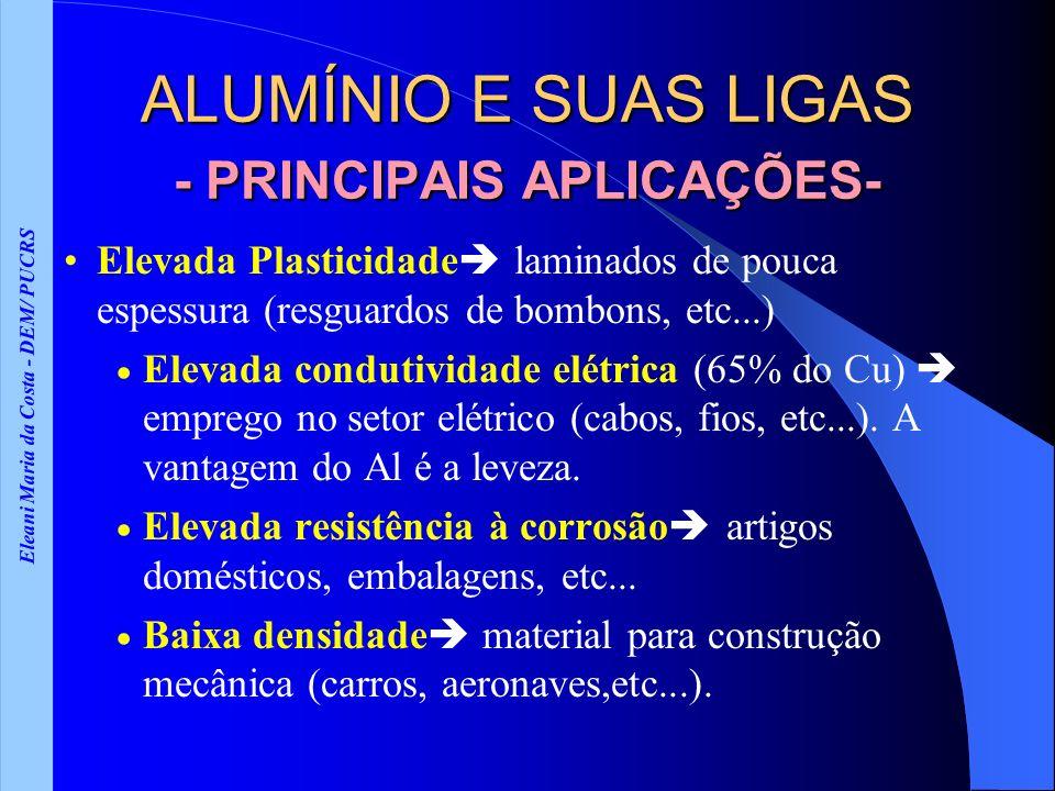 ALUMÍNIO E SUAS LIGAS - PRINCIPAIS APLICAÇÕES-