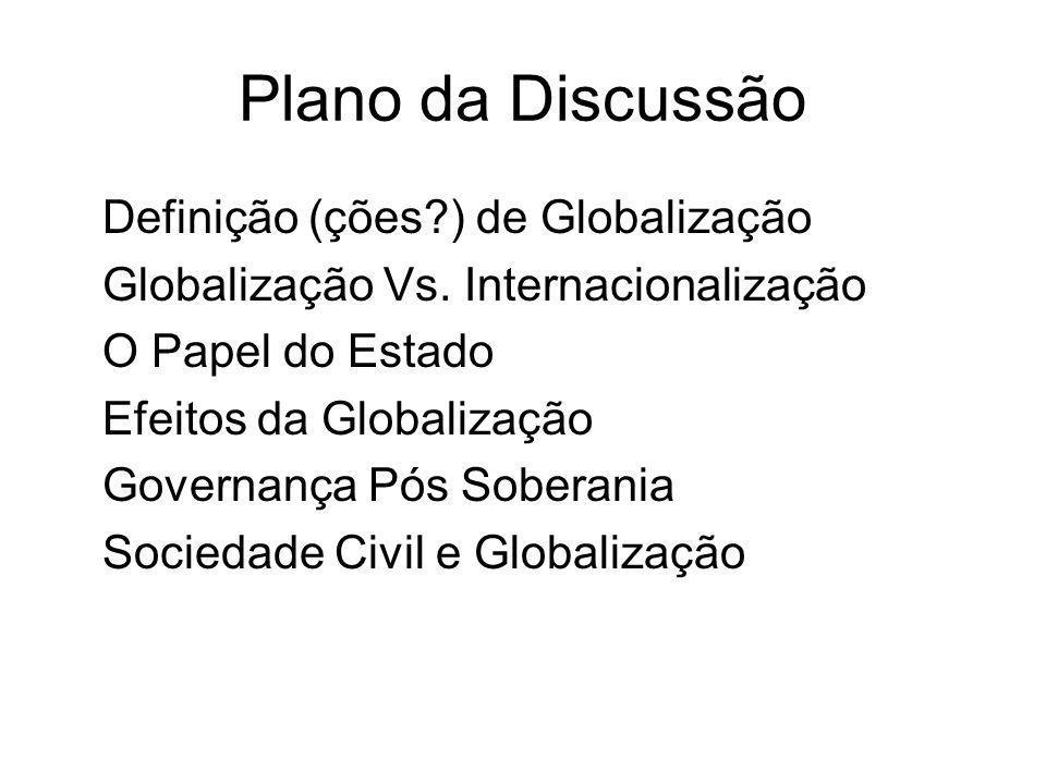 Plano da Discussão Definição (ções ) de Globalização