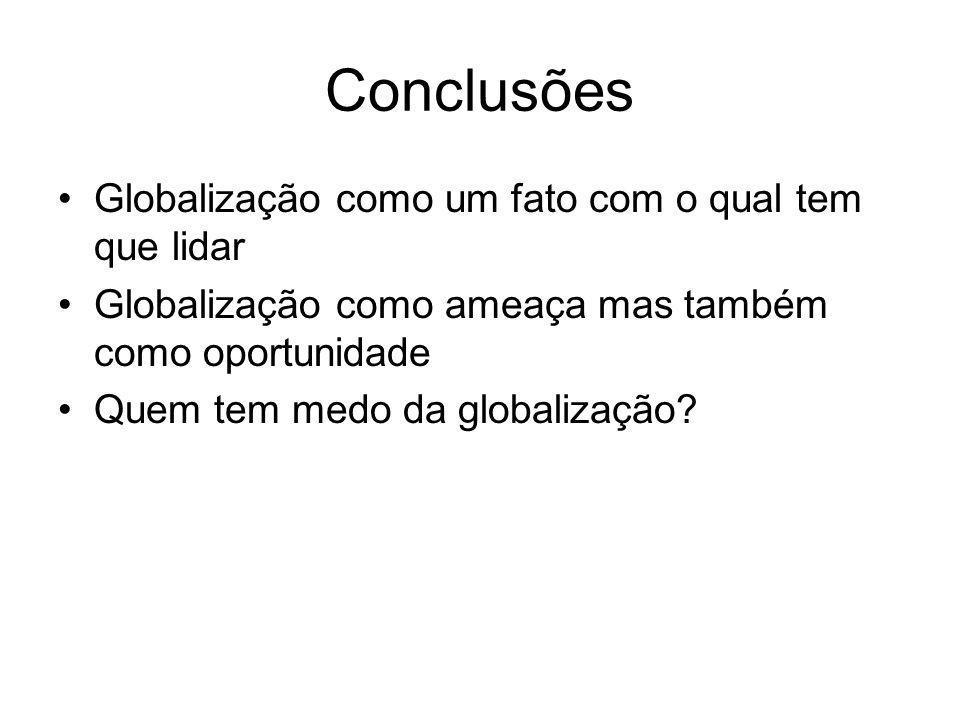 Conclusões Globalização como um fato com o qual tem que lidar
