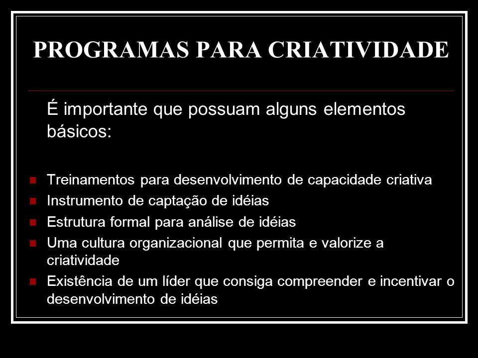 PROGRAMAS PARA CRIATIVIDADE