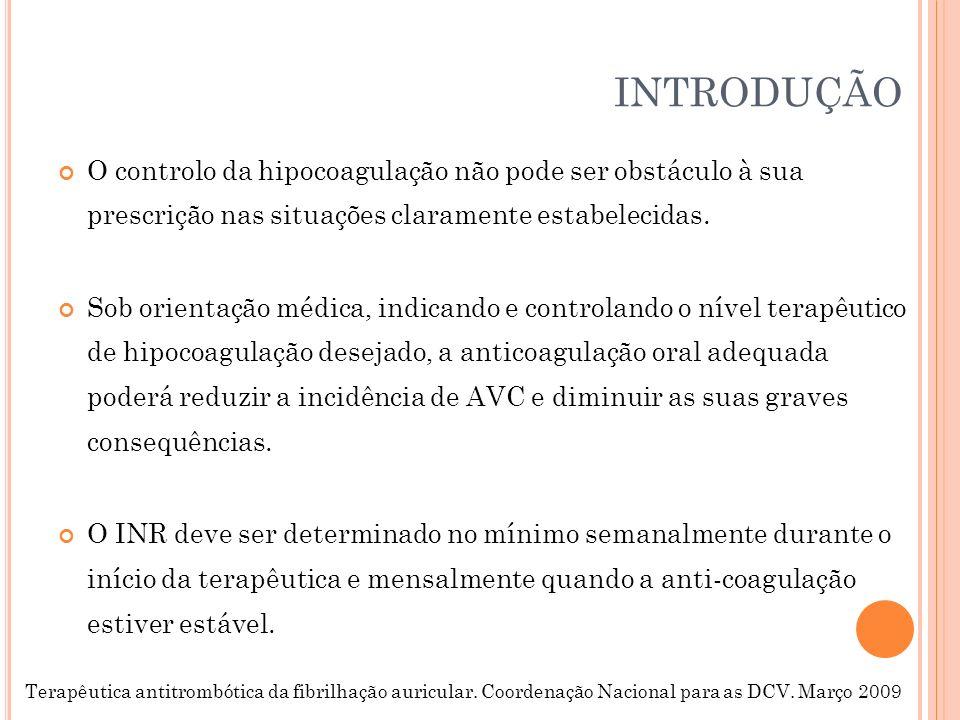 INTRODUÇÃO O controlo da hipocoagulação não pode ser obstáculo à sua prescrição nas situações claramente estabelecidas.