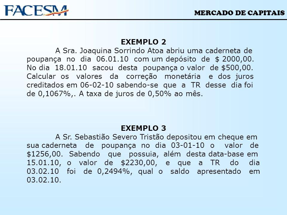 EXEMPLO 2 A Sra. Joaquina Sorrindo Atoa abriu uma caderneta de poupança no dia 06.01.10 com um depósito de $ 2000,00.