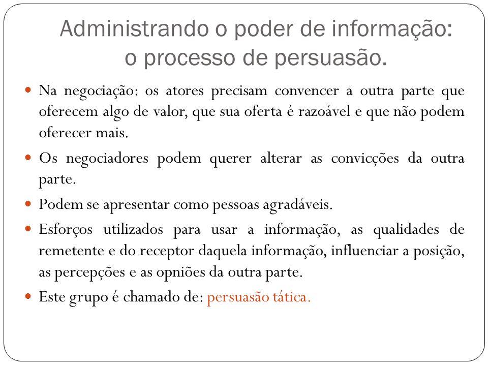 Administrando o poder de informação: o processo de persuasão.