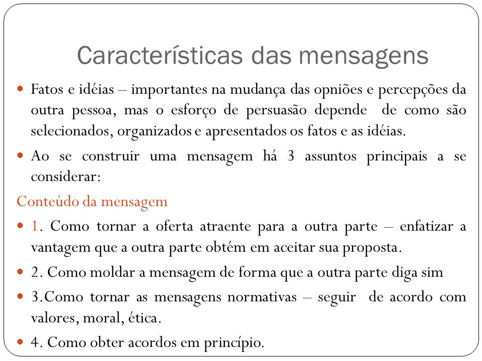 Características das mensagens