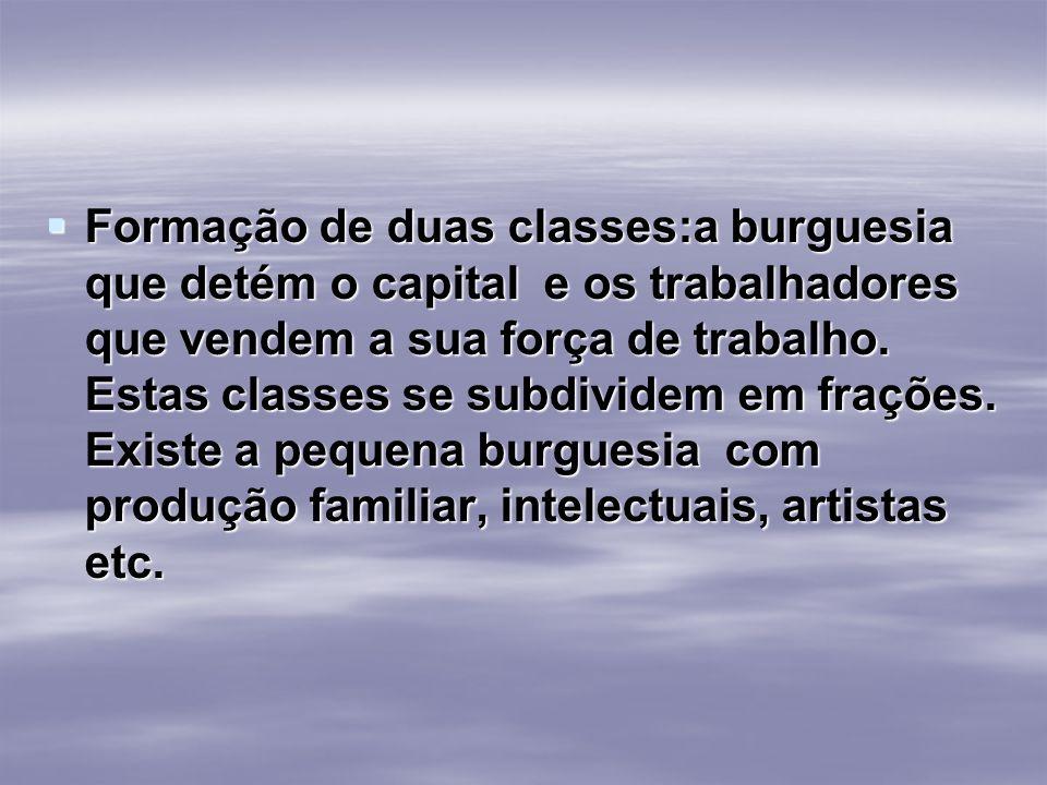 Formação de duas classes:a burguesia que detém o capital e os trabalhadores que vendem a sua força de trabalho.