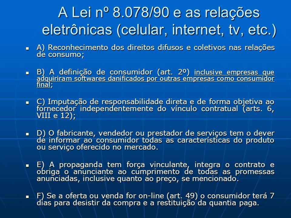 A Lei nº 8.078/90 e as relações eletrônicas (celular, internet, tv, etc.)