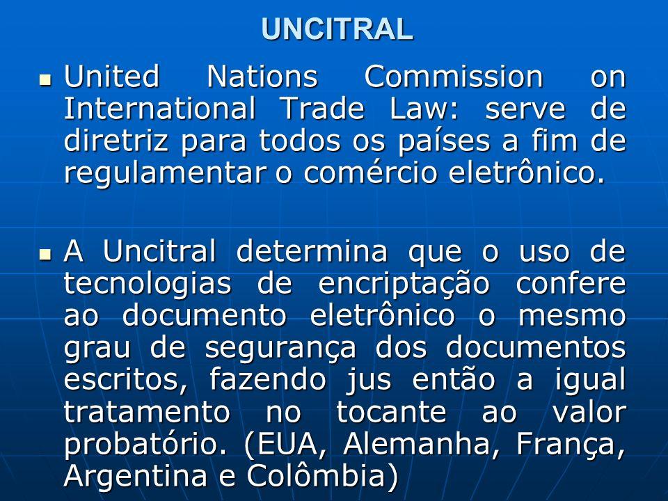 UNCITRAL United Nations Commission on International Trade Law: serve de diretriz para todos os países a fim de regulamentar o comércio eletrônico.