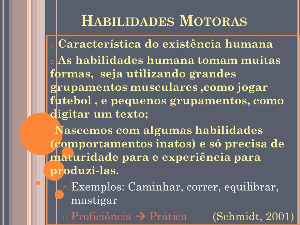 Habilidades Motoras Característica do existência humana