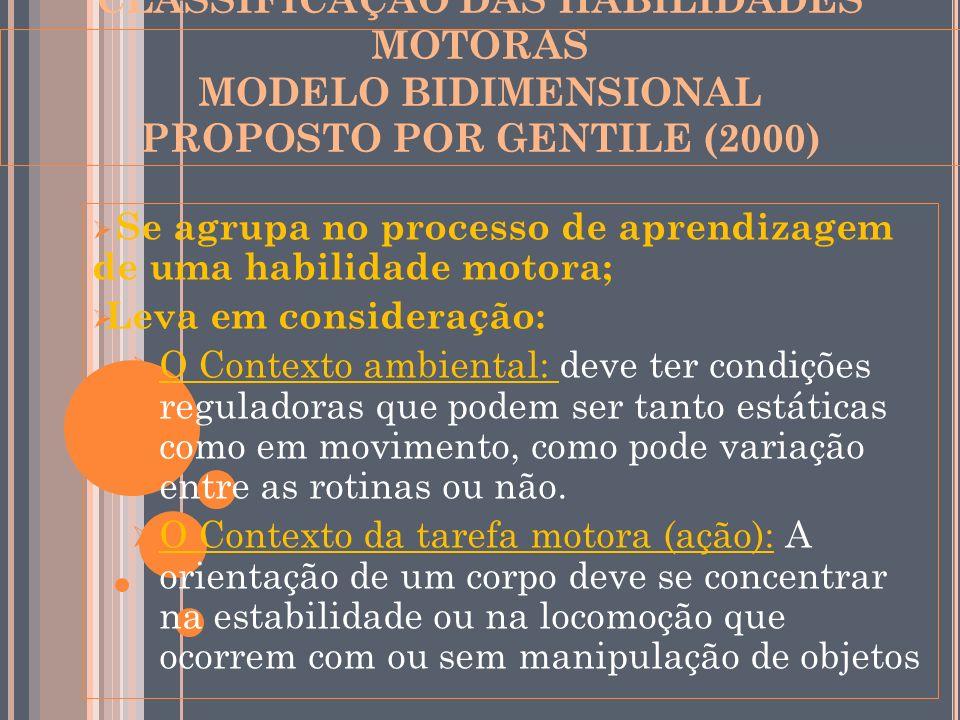 CLASSIFICAÇÃO DAS HABILIDADES MOTORAS MODELO BIDIMENSIONAL PROPOSTO POR GENTILE (2000)
