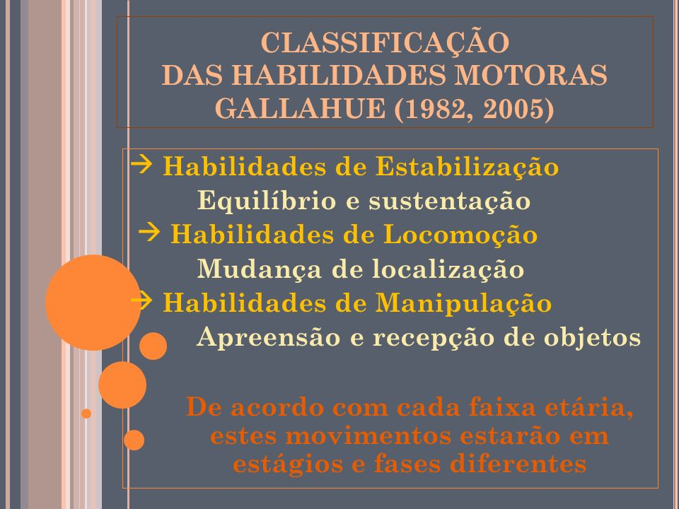 CLASSIFICAÇÃO DAS HABILIDADES MOTORAS GALLAHUE (1982, 2005)