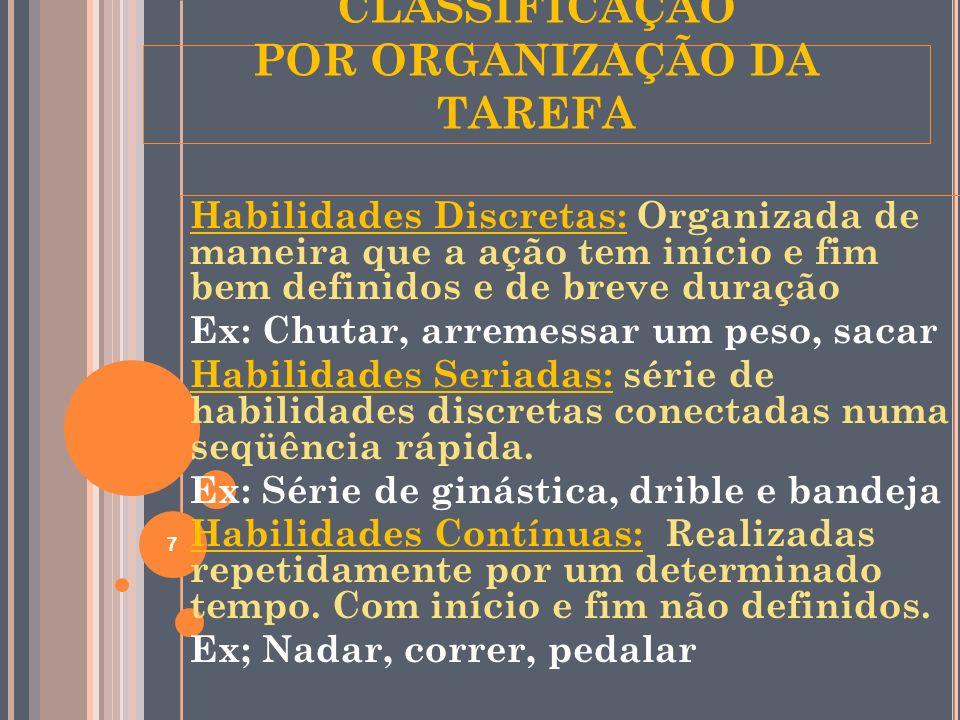 CLASSIFICAÇÃO POR ORGANIZAÇÃO DA TAREFA