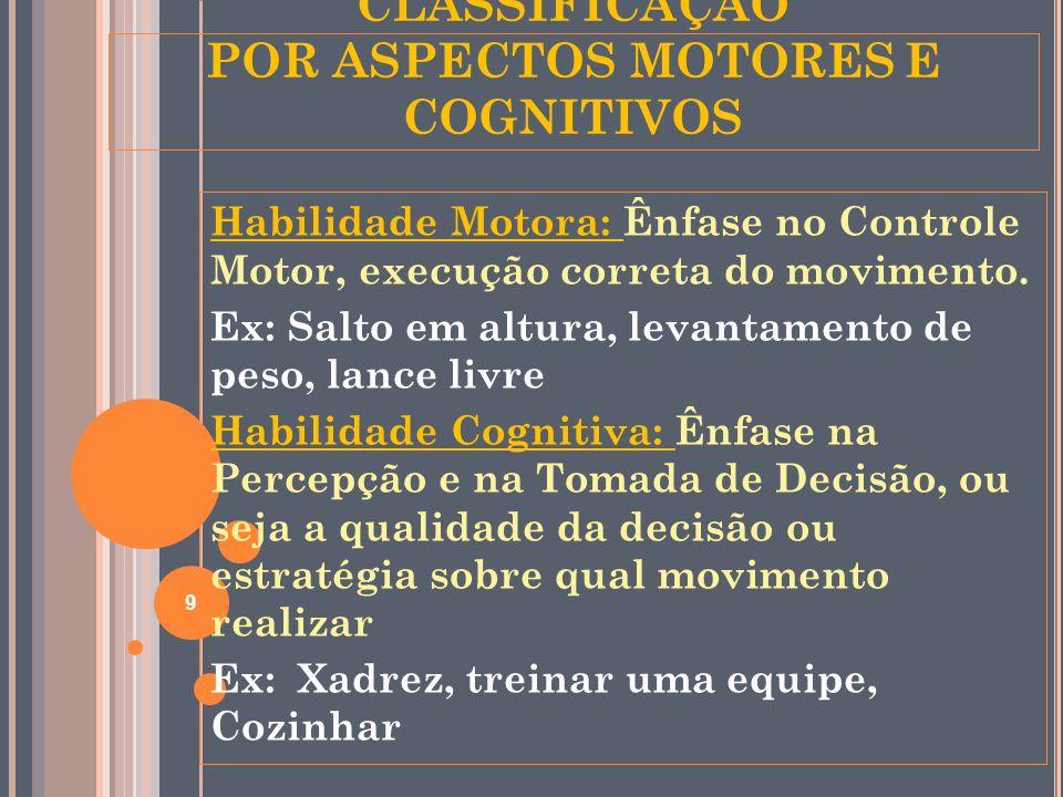 CLASSIFICAÇÃO POR ASPECTOS MOTORES E COGNITIVOS