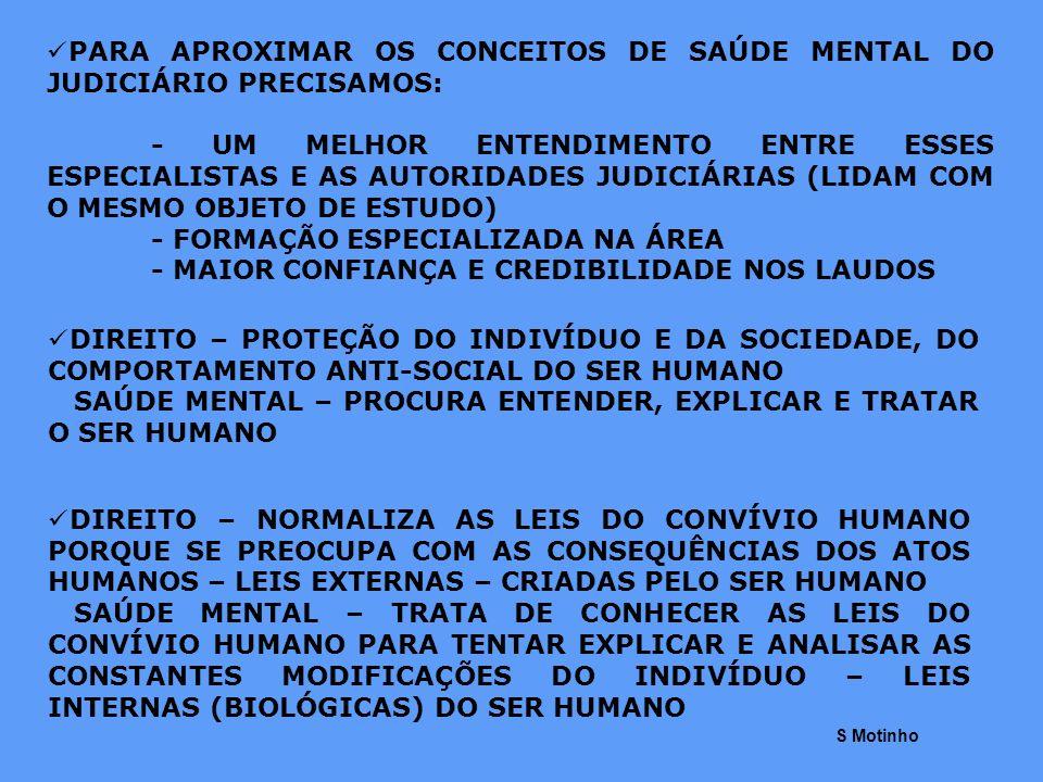 PARA APROXIMAR OS CONCEITOS DE SAÚDE MENTAL DO JUDICIÁRIO PRECISAMOS: