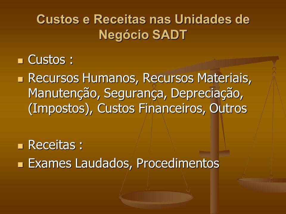 Custos e Receitas nas Unidades de Negócio SADT