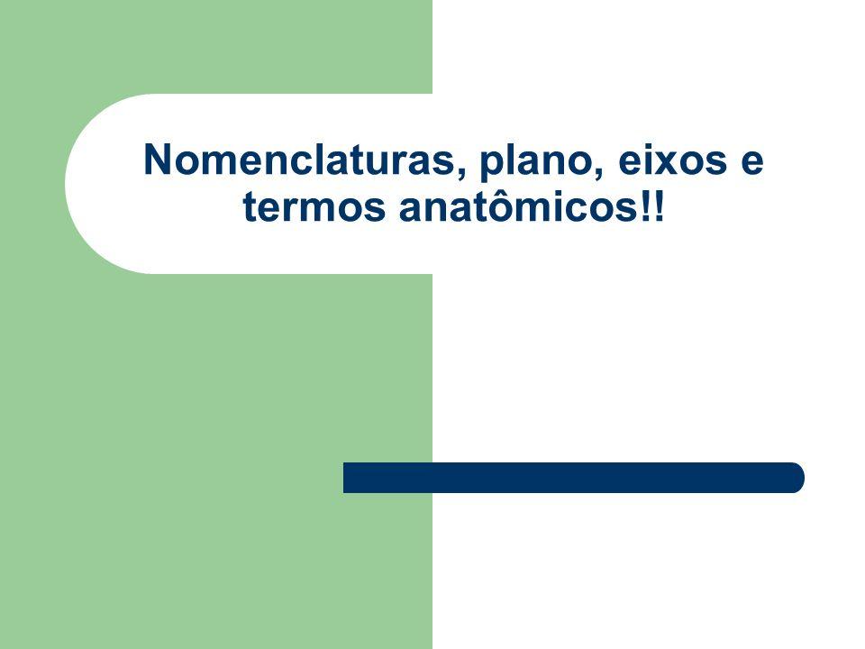 Nomenclaturas, plano, eixos e termos anatômicos!!