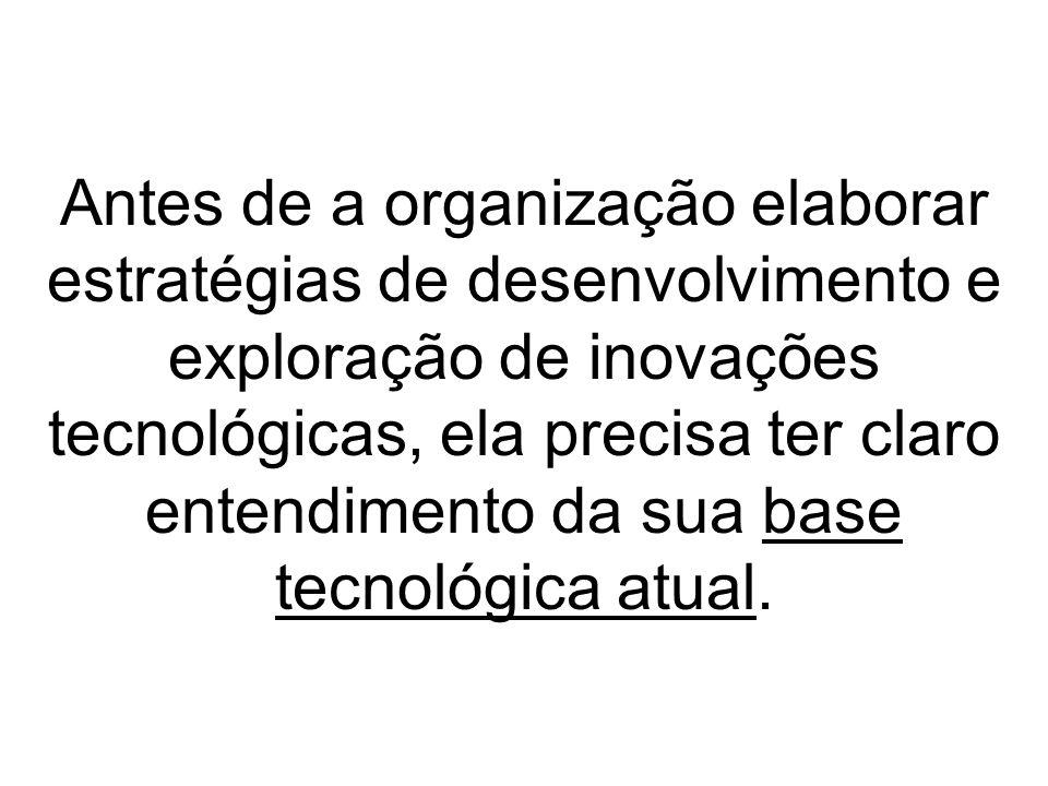 Antes de a organização elaborar estratégias de desenvolvimento e exploração de inovações tecnológicas, ela precisa ter claro entendimento da sua base tecnológica atual.