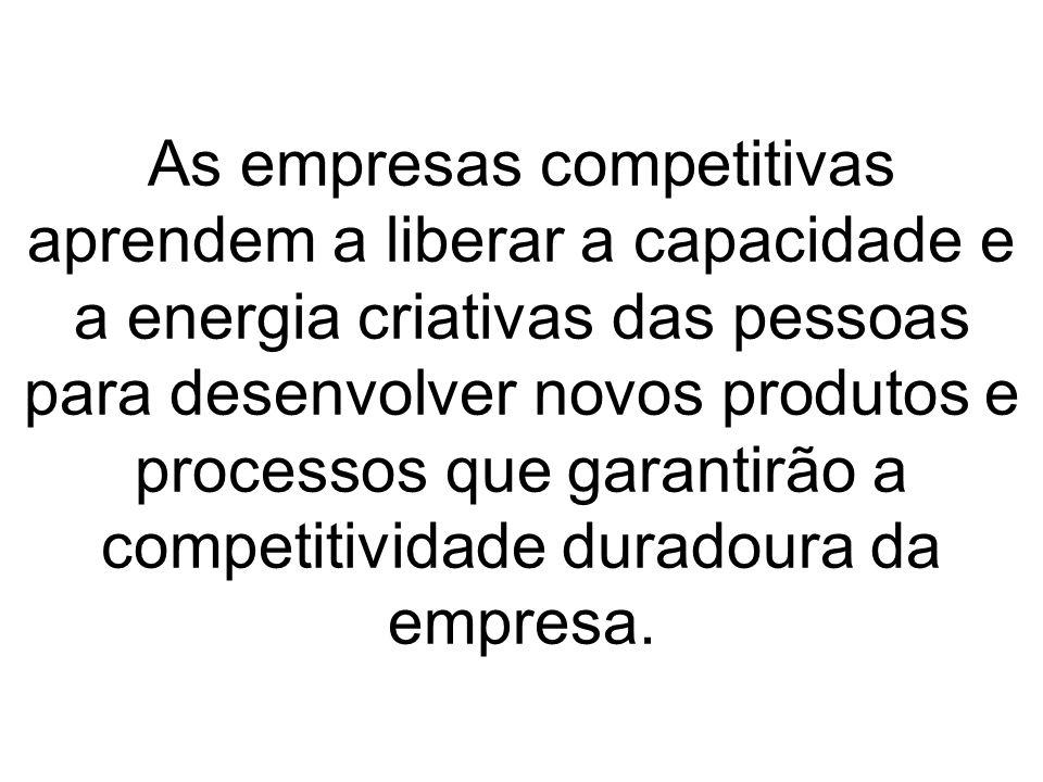 As empresas competitivas aprendem a liberar a capacidade e a energia criativas das pessoas para desenvolver novos produtos e processos que garantirão a competitividade duradoura da empresa.