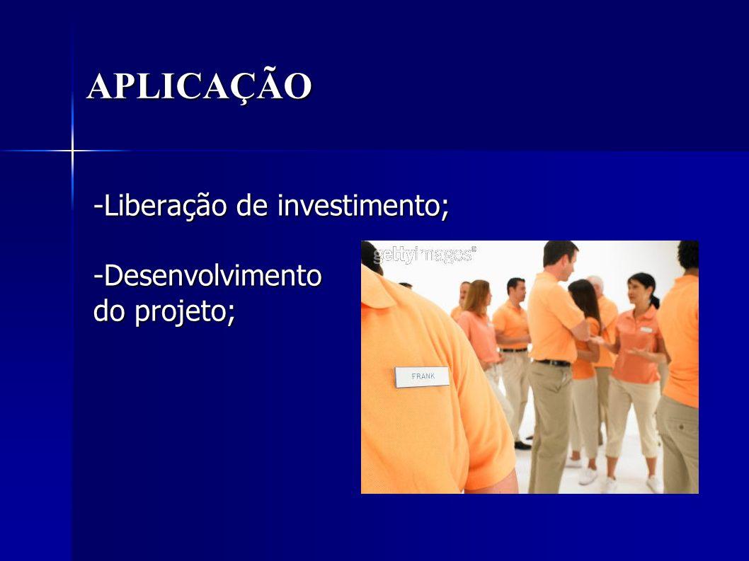 -Liberação de investimento; -Desenvolvimento do projeto;