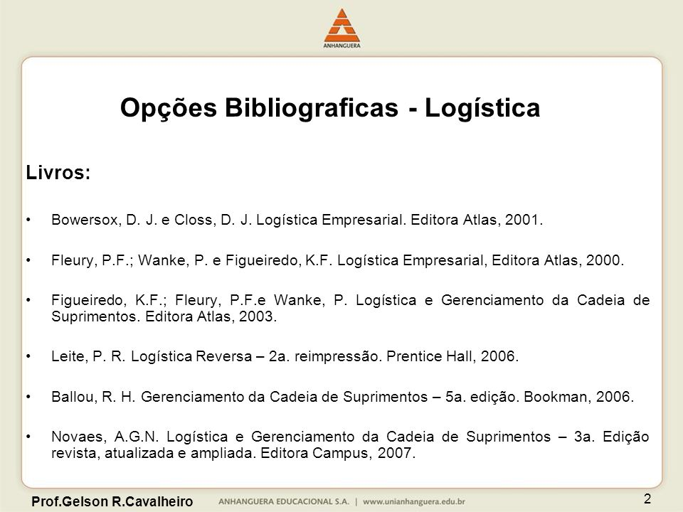 Opções Bibliograficas - Logística
