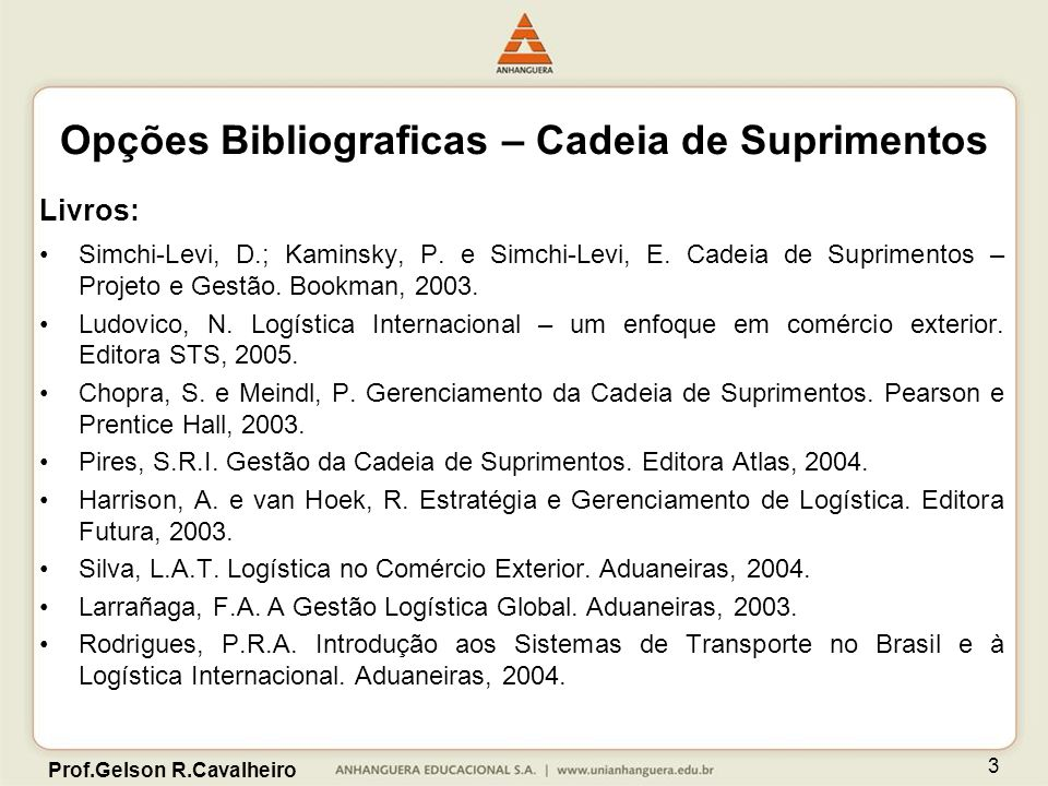 Opções Bibliograficas – Cadeia de Suprimentos