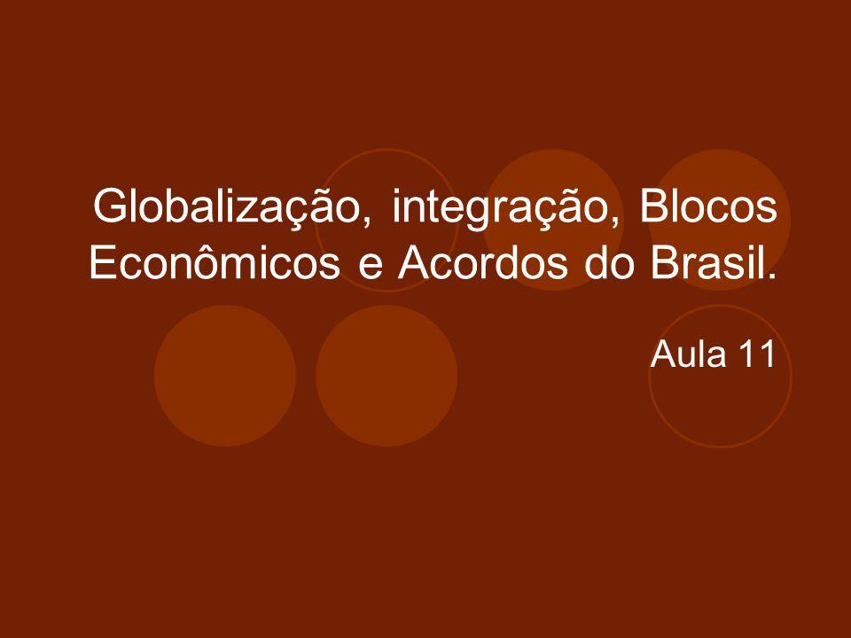 Globalização, integração, Blocos Econômicos e Acordos do Brasil.