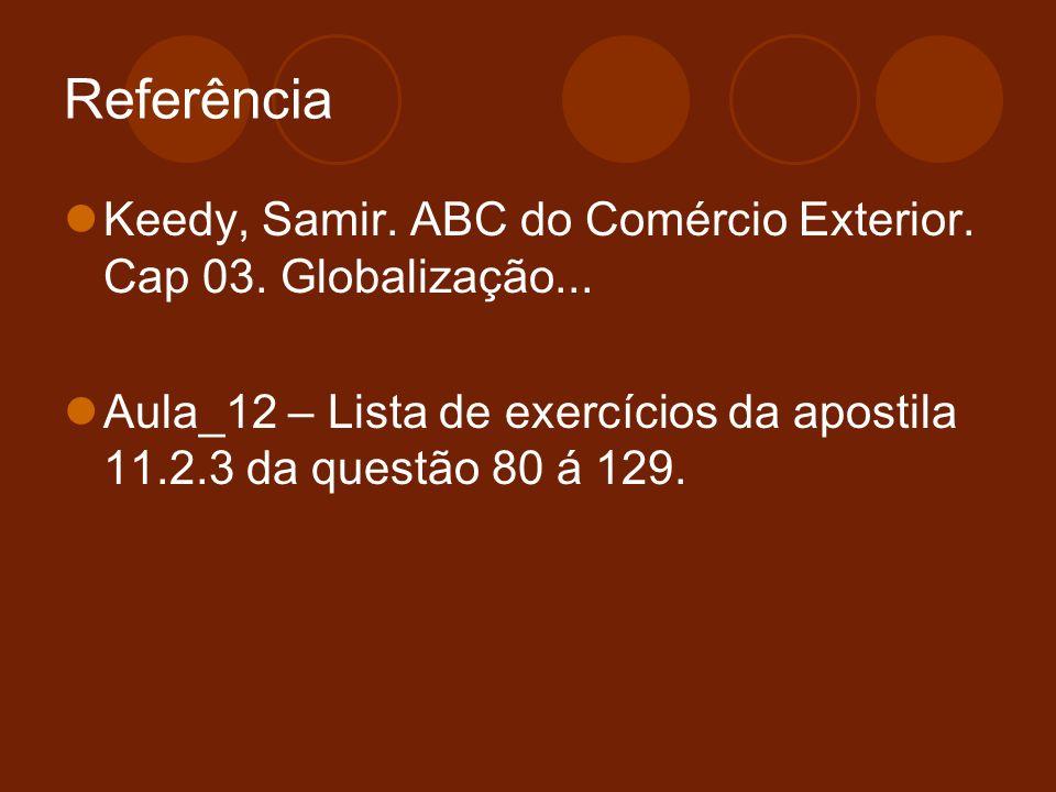 Referência Keedy, Samir. ABC do Comércio Exterior.