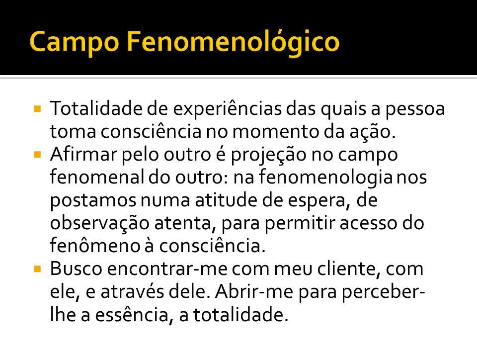 Campo Fenomenológico Totalidade de experiências das quais a pessoa toma consciência no momento da ação.